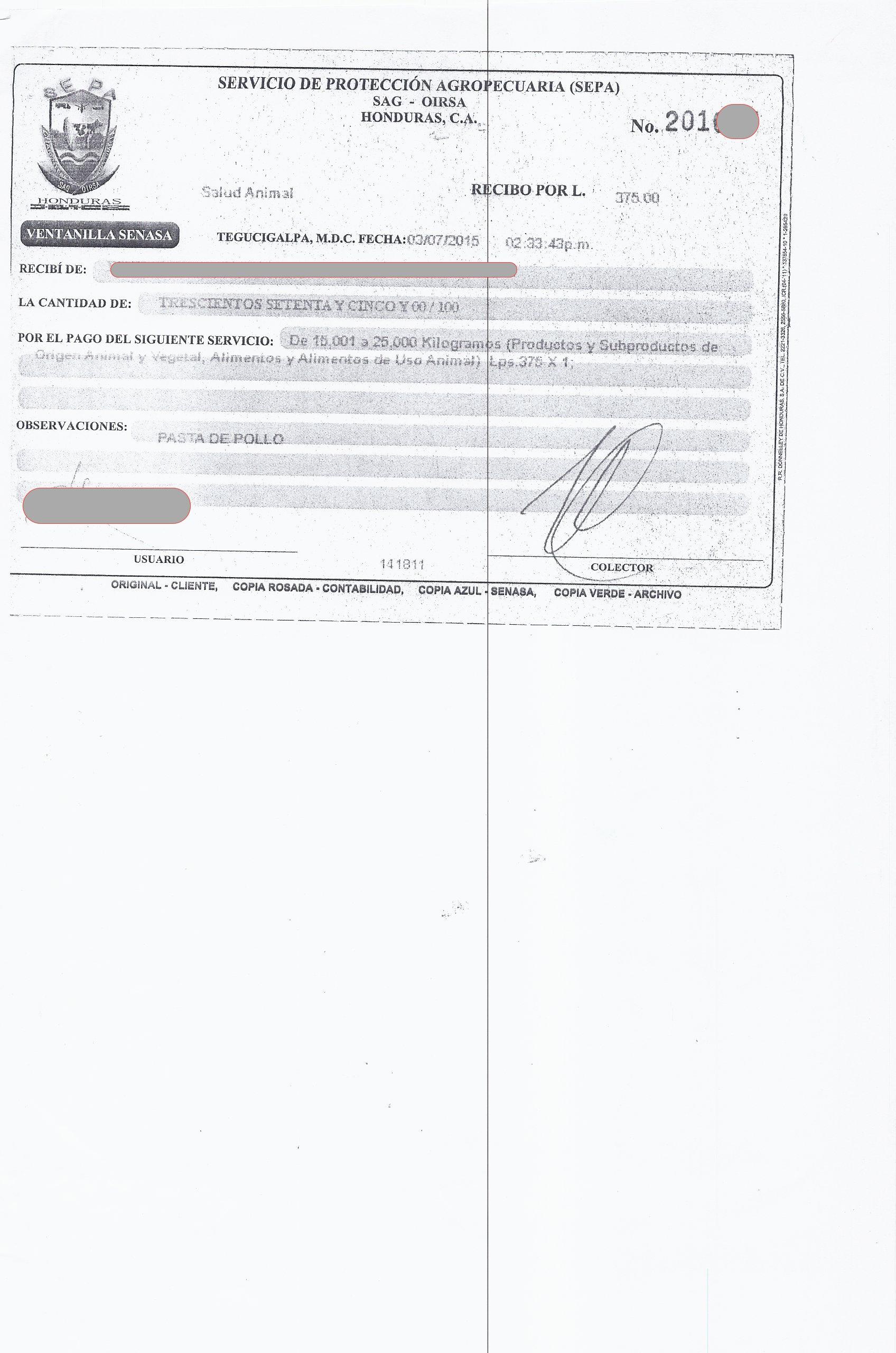 Recibo de pago de OIRSA